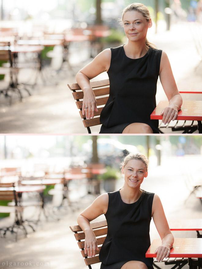 Portret van een mooie en zelfverzekerde zakenvrouw op een terrasje in Rotterdam