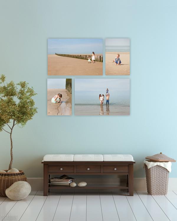 Voorbeeld van een combinatie van meerdere foto's op dibond of acryl naast elkaar.