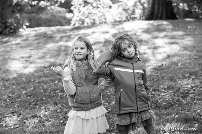 Portrait of two little girls in a park