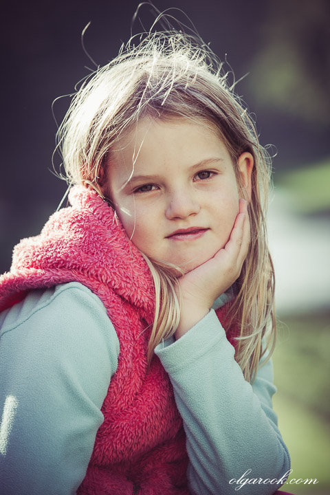 Portrait of a little girl in a park