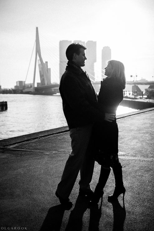 timeless romantic portrait of a couple in the city